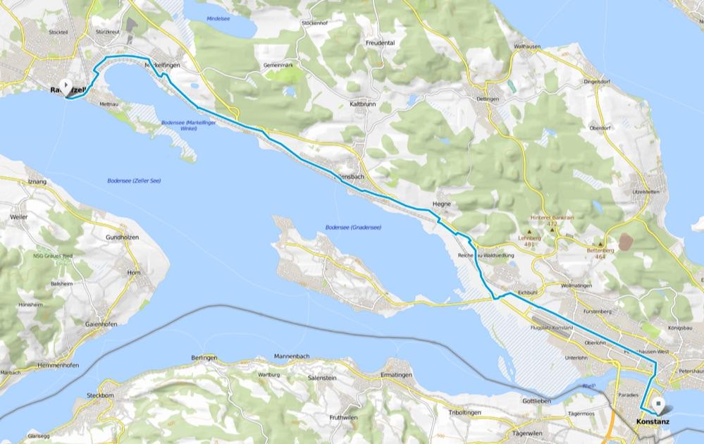 Karte Bodensee-Radweg Etappe 8