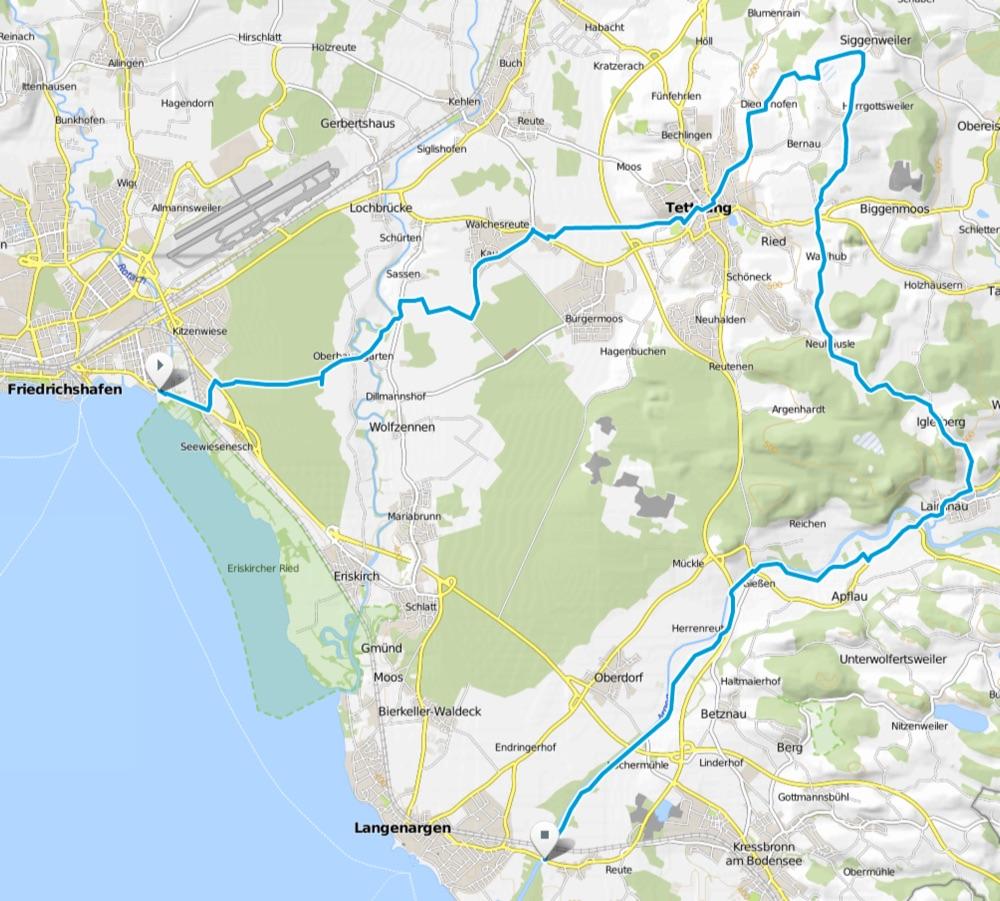 Karte Tettnanger Hopfenschlaufe