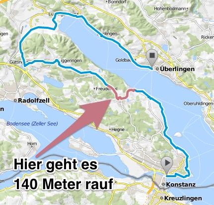 Die Steigung zwischen Wallhausen, Dettingen und Langenrain.