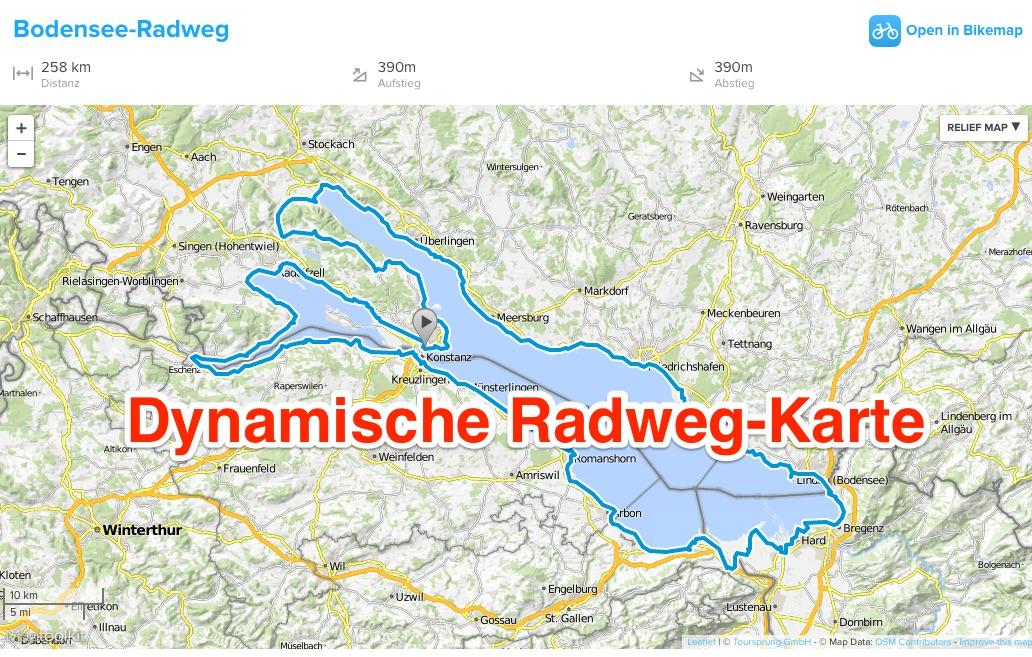 Zoombare karte bodensee radweg for Bodensee karte