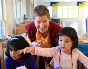 Ani Zangmo helping the kids