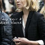 Clemence Poesy's sexy hair + black clutch