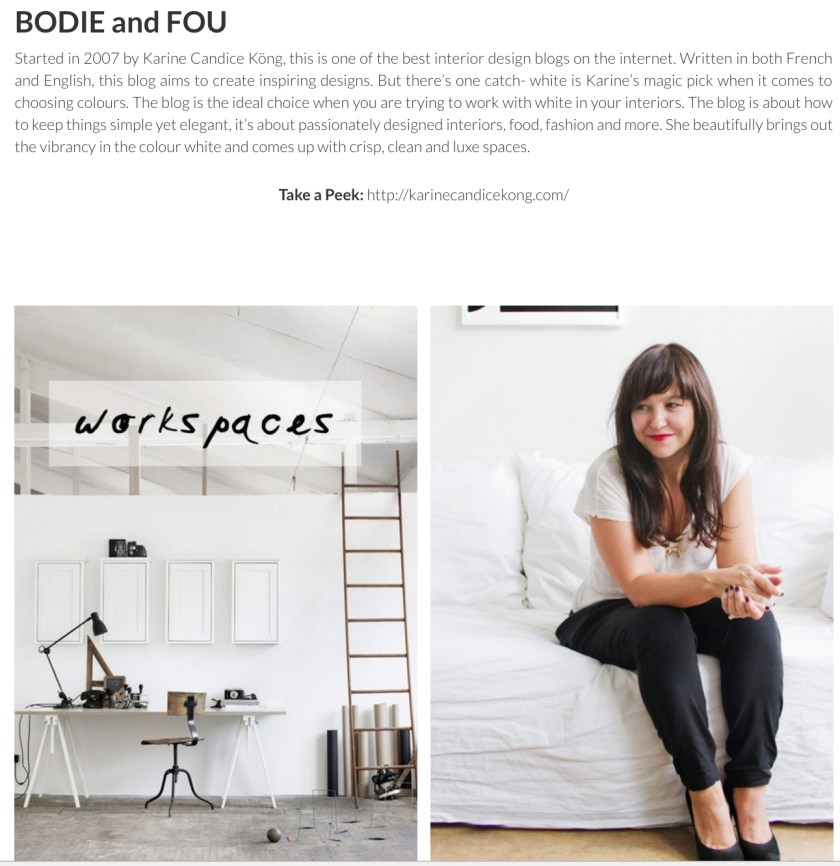 BODIE and FOU Top 50 Interior Design Blogs