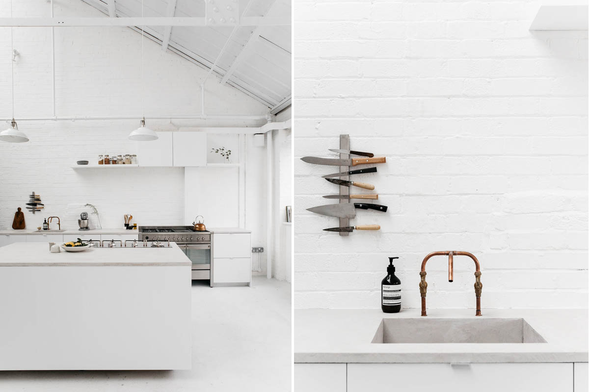 A white industrial kitchen with Smeg appliances