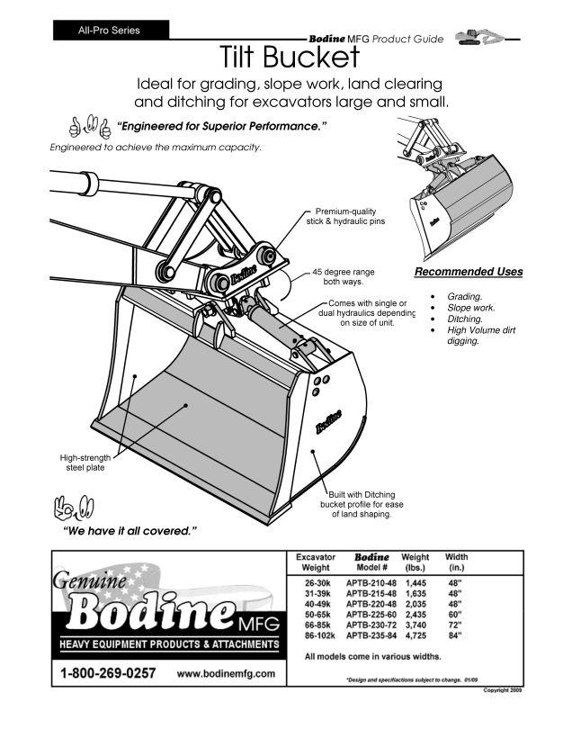 BODINE Mfg. TILT BUCKETS Demolition Construction Equipment