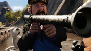 (L to R) Snowy and Captain Haddock (Andy Serkis) in THE ADVENTURES OF TINTIN: THE SECRET OF THE UNICORN.