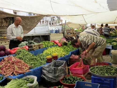 Vegetable stand at Gumusluk Market Bodrum Market Index Page Bodrum Peninsula Shopping Turkey
