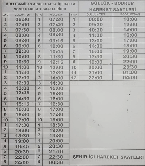 2017 Timetable Gulluk to Milas and Bodrum