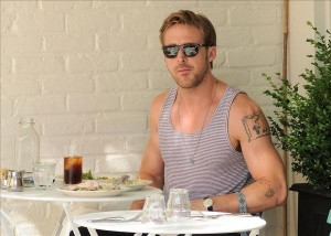 Actor Ryan Gosling has lunch at Feels Restaurant in NoHo, NYC