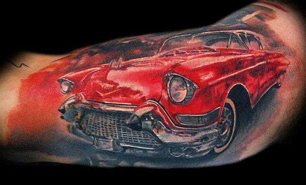 Burning car tattoo