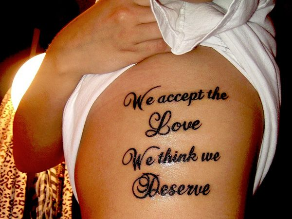 Stylish quotes on rib side