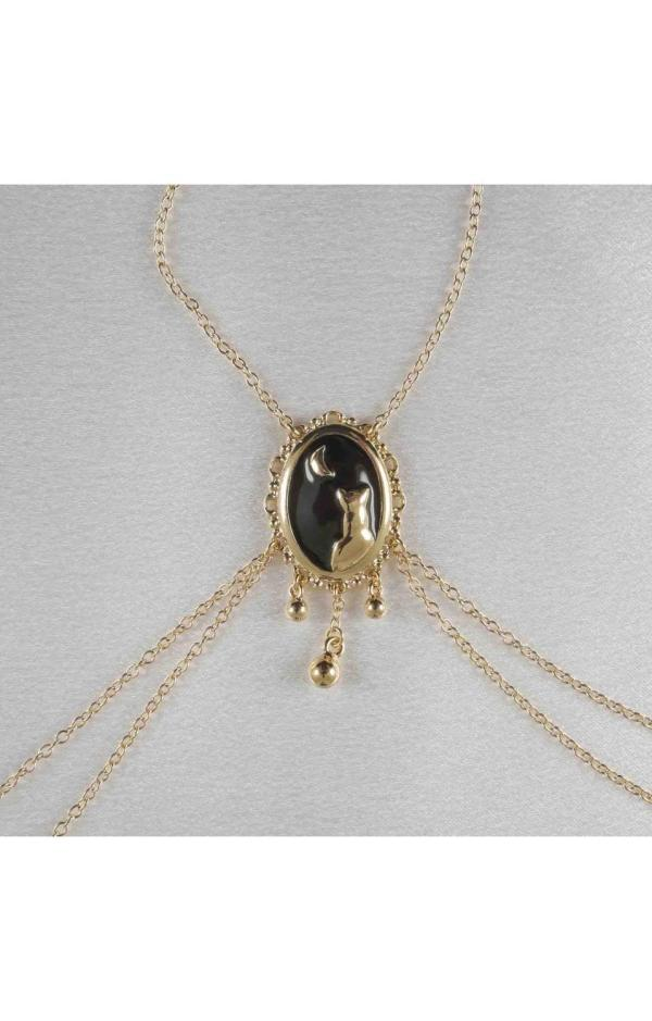 Bendis - Women' Moonlight Cameo Breast Chain & Gold