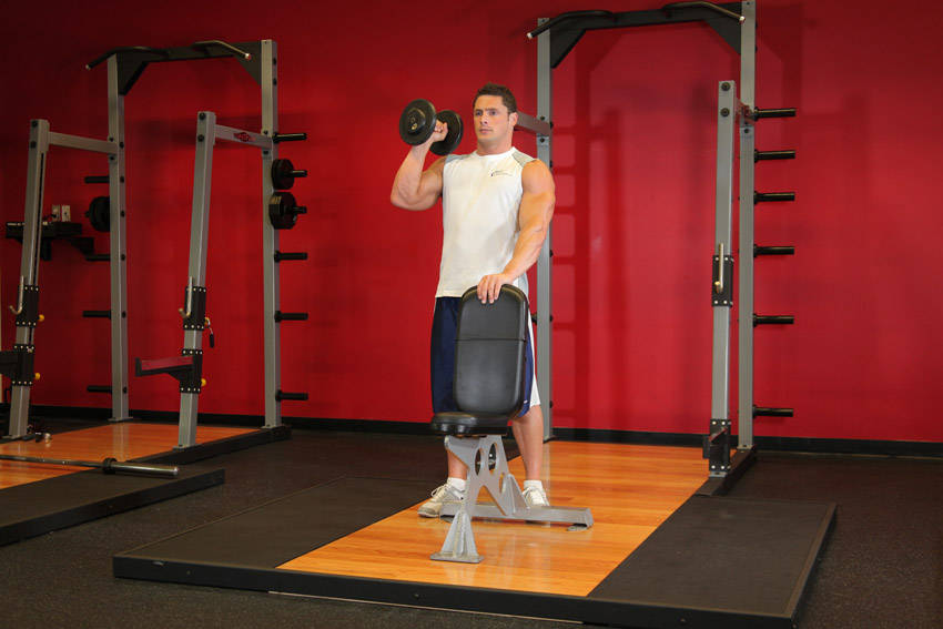 Standing One Arm Barbell Push