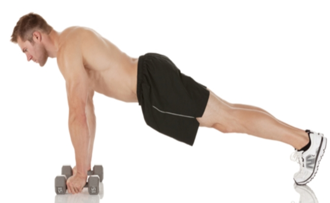 Pushup Position Workout With Dumbbells