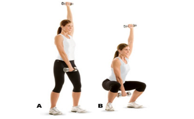 Dumbbell One-Arm Overhead Squatting