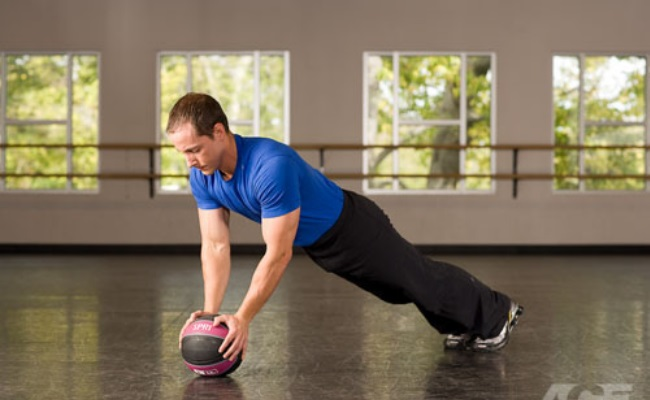 Push Up With Medicine Ball
