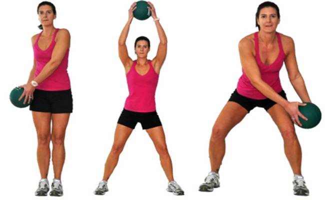 Variation Of Squats With Medicine Ball