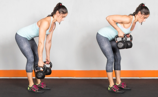 Two Arm Kettlebell Row