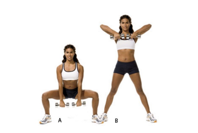 Squat Dumbbell Row