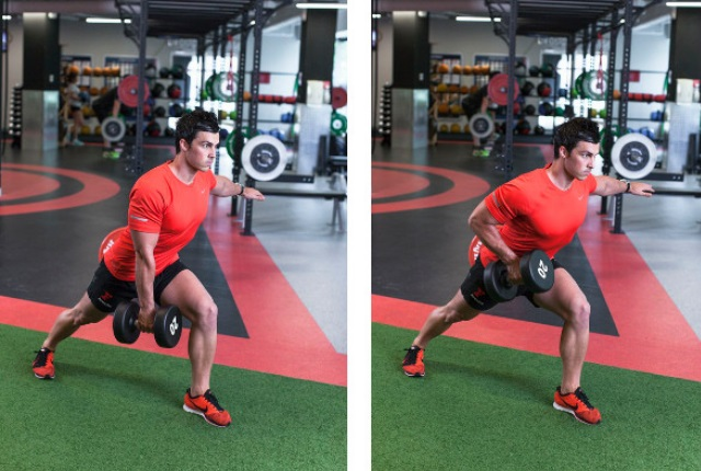 Static Lunge With Dumbbell Row