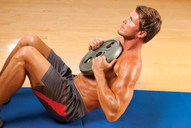 Free Weight Crunches With Dumbbells