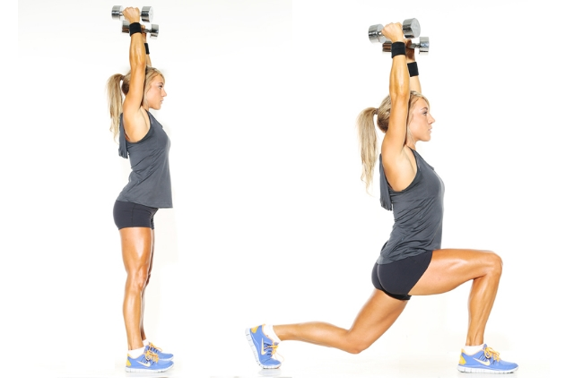 Lunges With Overhead Presses