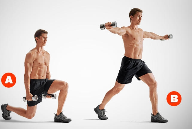 Split Squat Shoulder Rise