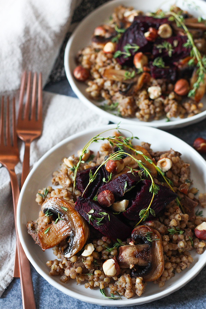 Buckwheat risotto with porcini, thyme, hazelnut and roast beetroot