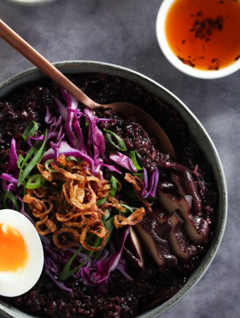 Black Rice Congee with chilli oil on the side