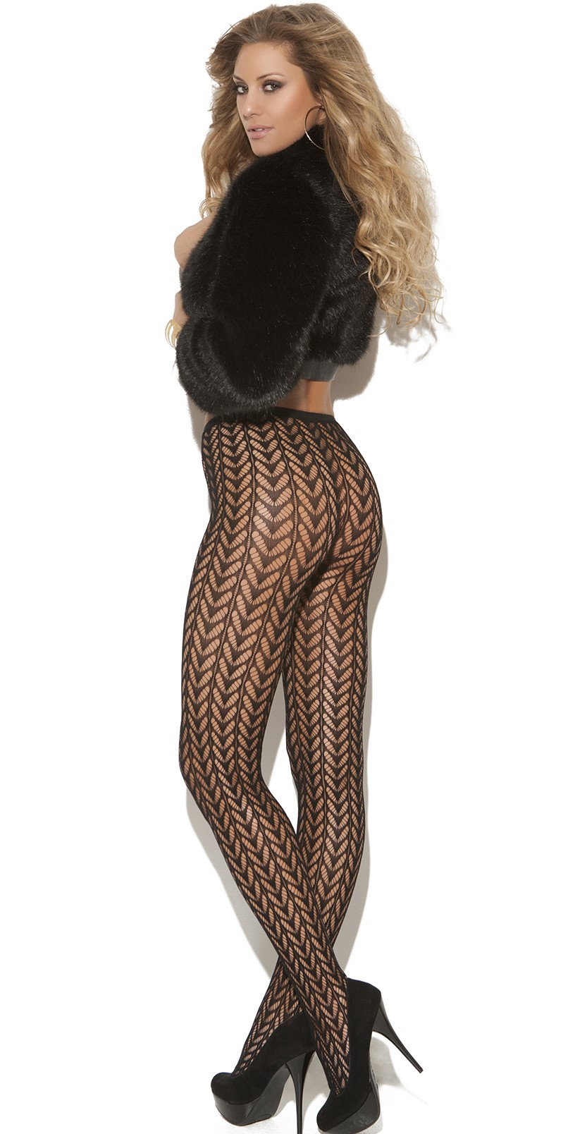 Black Vivace Pantyhose with Feather Design