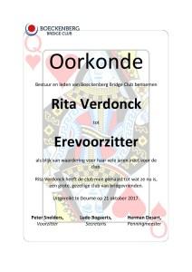 Oorkonde - Erevoorzitter - Rita Verdonck