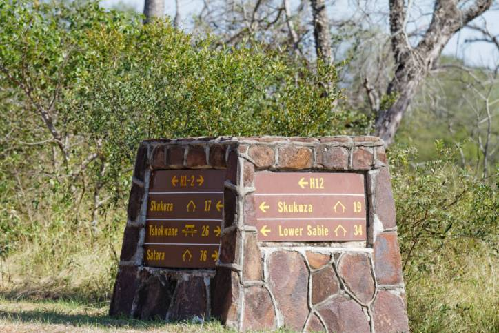Wegweiser im Kruger NP