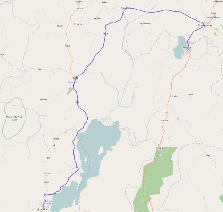 Reiseroute Äthiopien 30.01.2016