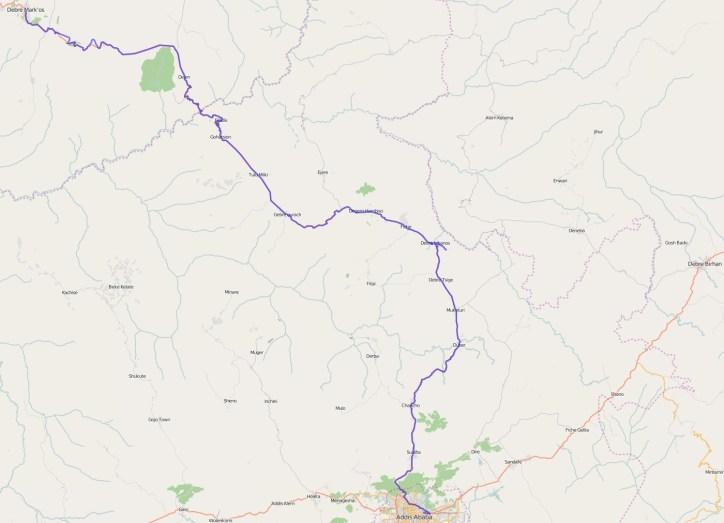 Reiseroute Äthiopien 11.02.2016