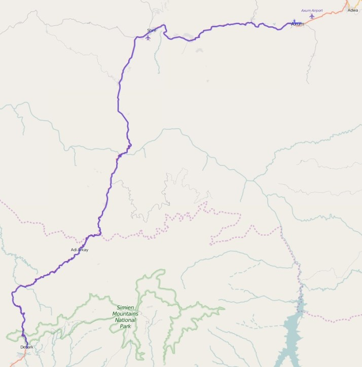 Reiseroute Äthiopien 18.02.2016