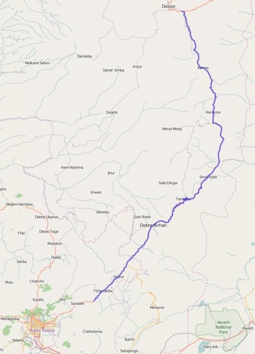 Reiseroute Äthiopien 26.02.2016
