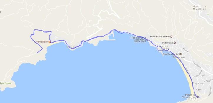 Reiseroute Kreta 10.5.2017