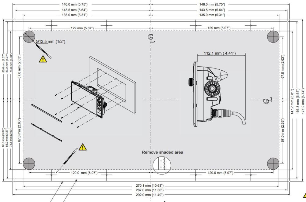 medium resolution of nss12 evo3 dimensions and flush mount template