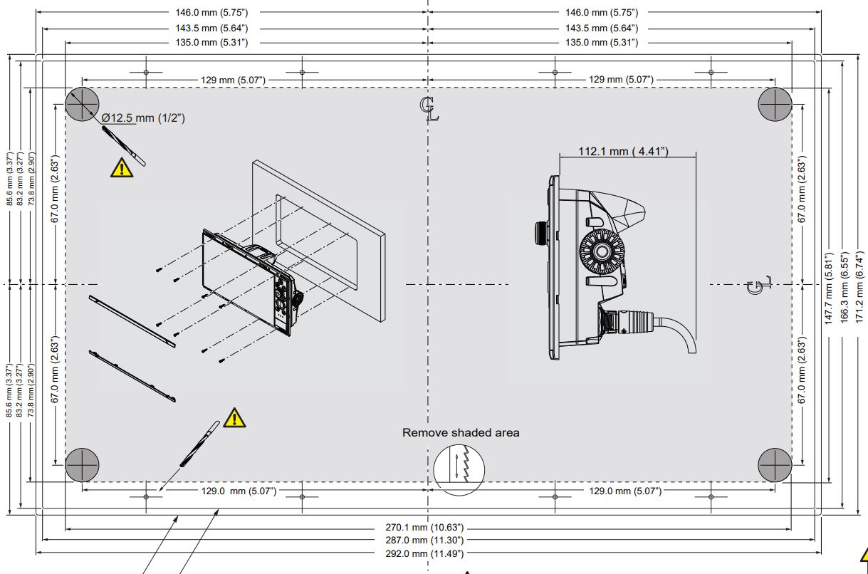 hight resolution of nss12 evo3 dimensions and flush mount template