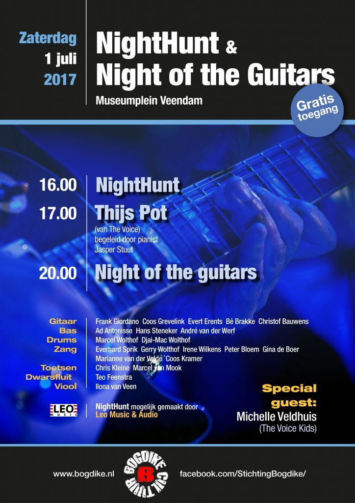 NightHunt en Night of the guitars – zaterdag 1 juli 2017 – Museumplein Veendam