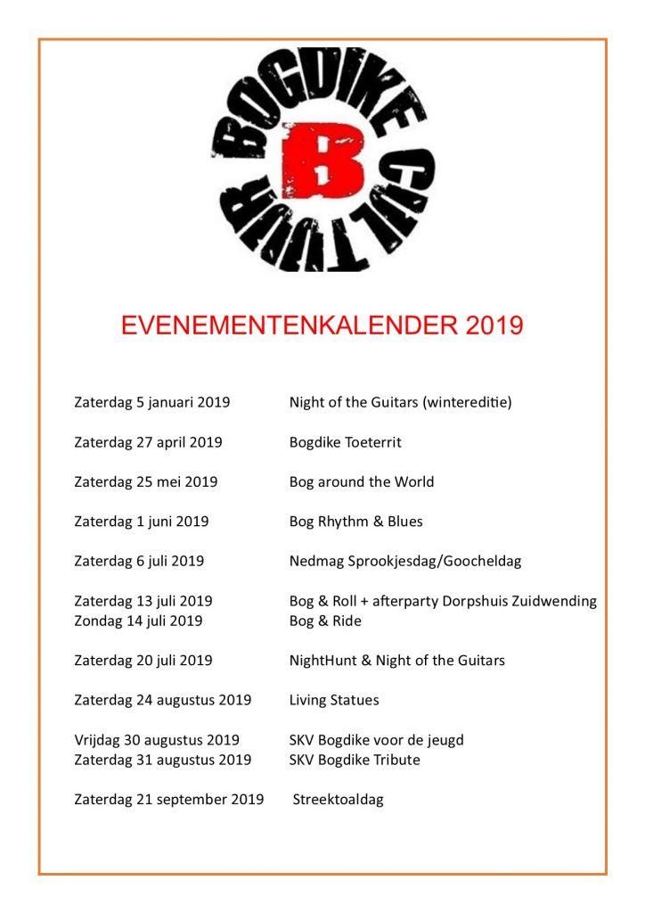 Bogdike evenementenkalender 2019