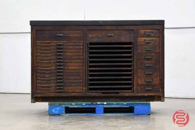 Letterpress Typekit Drawers Cabinet w/ Assorted Furniture - 020921021350