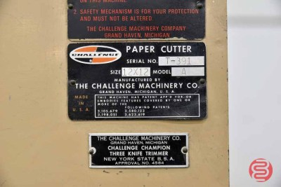 Challenge 12x12 Model A Three Knife Trimmer - 082321011415