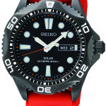 Seiko Men's Seiko SNE245 Solar Diver. Easy-to-read black dial. Japanese quartz movement with analog display and protective crystal dial window. Features include orange urethane band, day and date. Water resistant to 660 feet. SNE245. $330.00