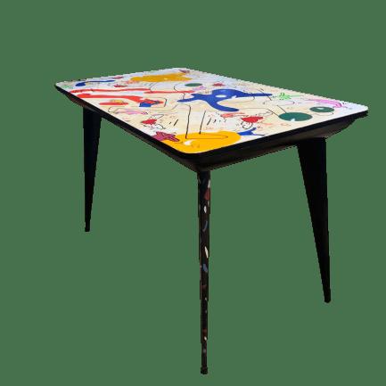 Tavolo vintage restaurato pop art