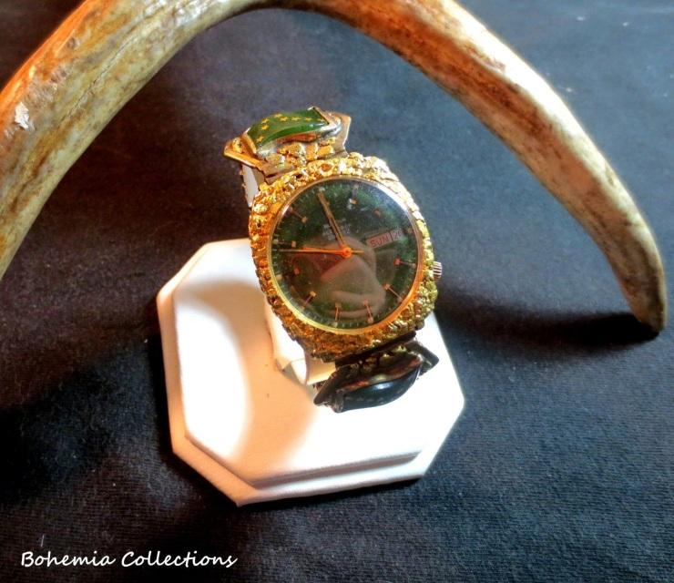 Vintage Set of Alaskan Jade Watch  Large Diamond Ring w2223k Gold Nuggets