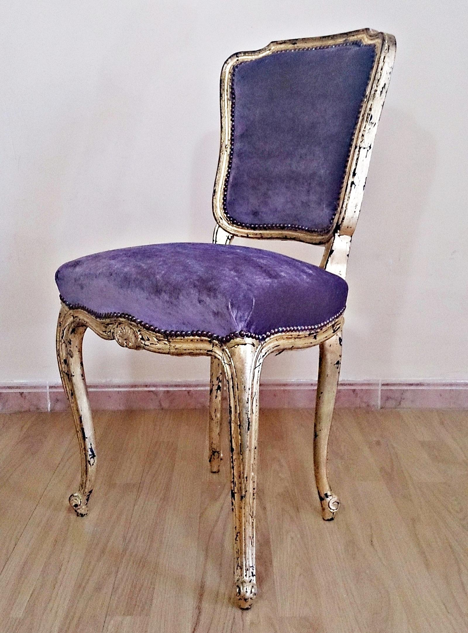 Silla vintage estilo Luis XV oro y malva  Tienda online de decoracin y muebles personalizados
