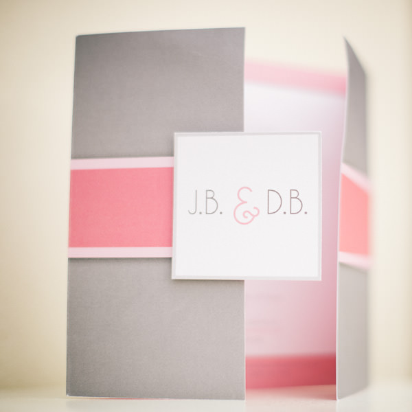 pink and grey wedding invitaion