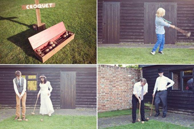 outdoor games at a DIY wedding