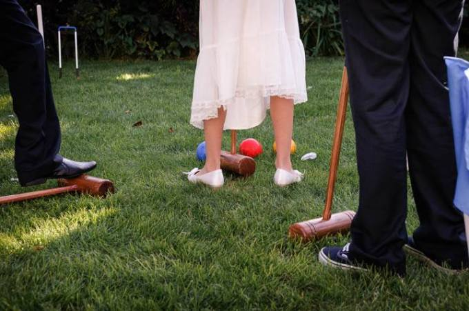 wooden garden games at a wedding reception